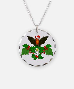Christmas Holly With Bat Necklace