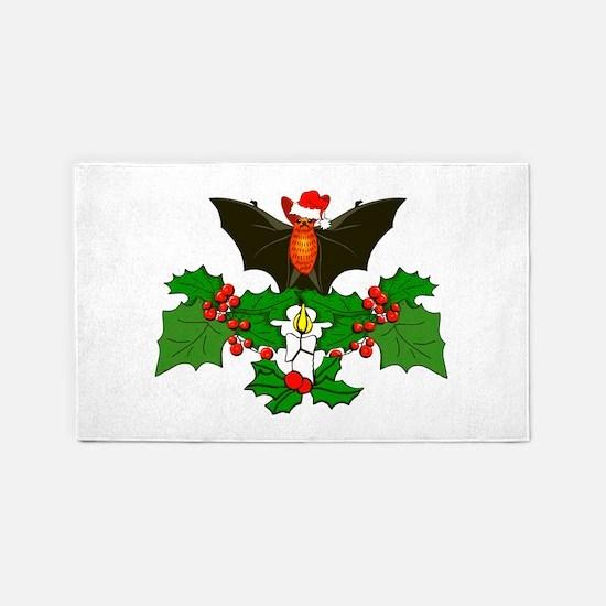 Christmas Holly With Bat 3'x5' Area Rug