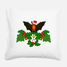 Christmas Holly With Bat Square Canvas Pillow