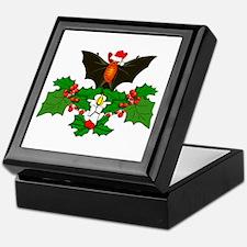 Christmas Holly With Bat Keepsake Box