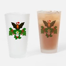 Christmas Holly With Bat Drinking Glass