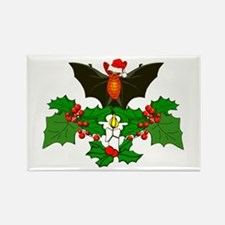 Christmas Holly With Bat Rectangle Magnet