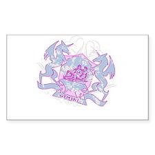 Gemini Pink Zodiac Rectangle Decal