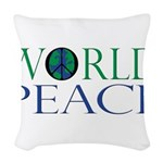 World Peace Full Whiteshirt.png Woven Throw Pillow
