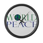 World Peace Full Whiteshirt.png Large Wall Clock