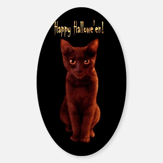 Happy Halloween Cat Oval Decal