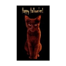 Happy Halloween Cat Sticker (Rect.)