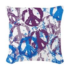 Cool Tone Peace Montage Woven Throw Pillow