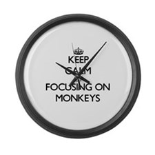 Keep Calm by focusing on Monkeys Large Wall Clock