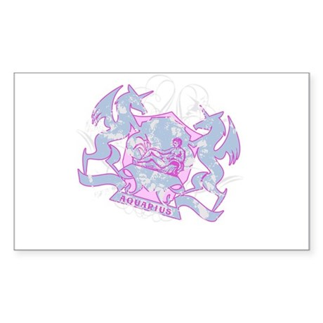 Aquarius Pink Zodiac Rectangle Sticker