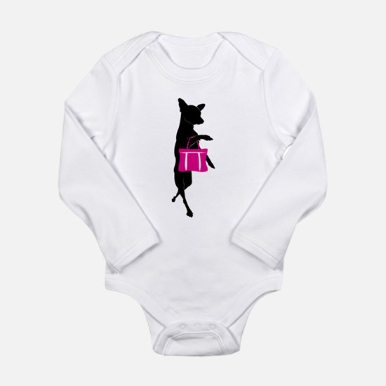 Silhouette of Chihuahu Long Sleeve Infant Bodysuit