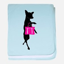 Silhouette of Chihuahua Going Shoppin baby blanket