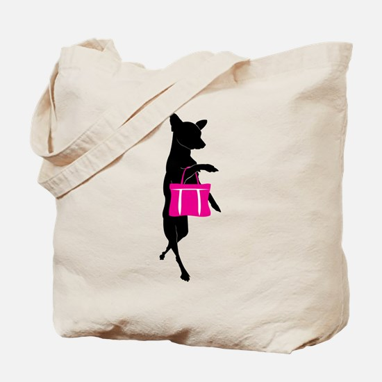 Silhouette of Chihuahua Going Shopping Tote Bag