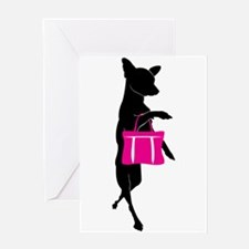 Silhouette of Chihuahua Going Shoppi Greeting Card