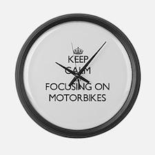 Keep Calm by focusing on Motorbik Large Wall Clock