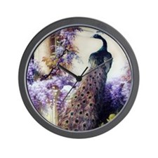 Bidau Peacock, Doves, Wisteria Wall Clock