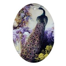 Bidau Peacock, Doves, Wisteria Ornament (Oval)