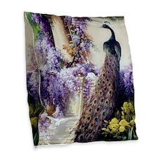 Bidau Peacock, Doves, Wisteria Burlap Throw Pillow