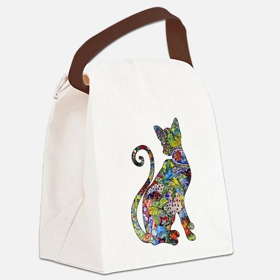 Unique Cat art Canvas Lunch Bag
