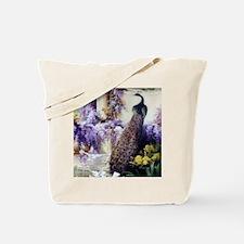 Bidau Peacock, Doves, Wisteria Tote Bag