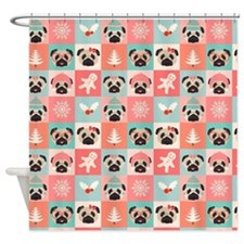 Sweet Christmas Pugs Shower Curtain