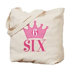 Six - 6th Birthday - Princess Birthday Party Tote