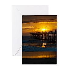 Fishing Pier at Sunrise Greeting Cards