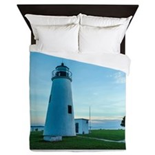 Turkey Point Light Maryland. Queen Duvet