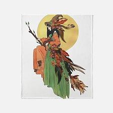 autumn witch Throw Blanket