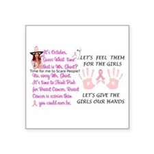 "Breast Cancer Think Pink Du Square Sticker 3"" x 3"""