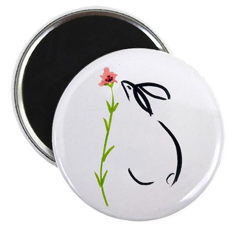 """single pink flower 2.25"""" Magnet (10 pack)"""
