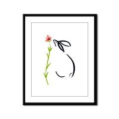 single pink flower Framed Panel Print