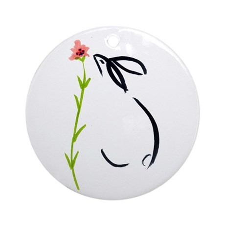single pink flower Ornament (Round)
