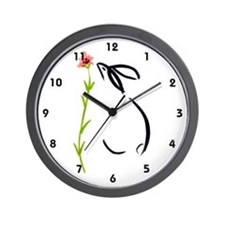 single pink flower Wall Clock