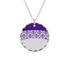 Purple Lace Necklace Circle Charm