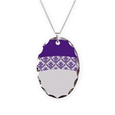 Purple Lace Necklace Oval Charm