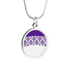Purple Lace Silver Round Necklace