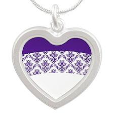 Purple Lace Silver Heart Necklace