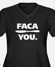 Faca You. Women's Plus Size V-Neck Dark T-Shirt