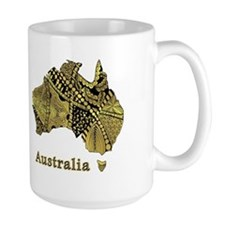 Australia Metallic Gold Map Art Mugs
