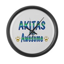 Akitas are Awesome Large Wall Clock