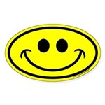 Classic Yellow Smiley Face Oval Sticker