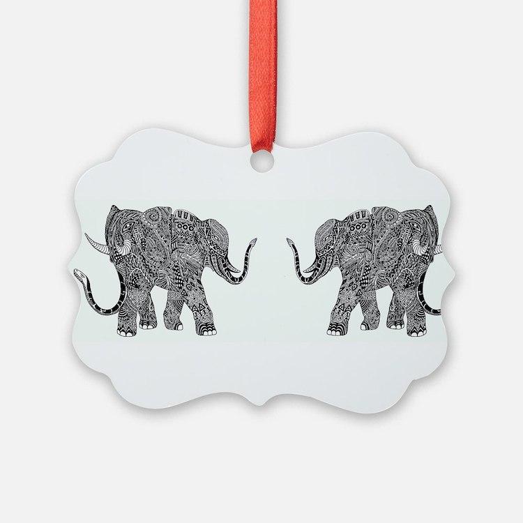 Snake-elephant Fantasy Indian Ink Ornament