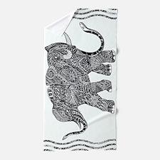 Snake-elephant Fantasy Indian Ink Beach Towel