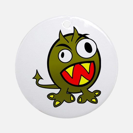 Angry Green Monster Round Ornament