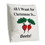 Christmas Beets Burlap Throw Pillow