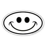 Smiley Face Oval Euro Sticker