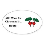 Christmas Beets Sticker (Oval 10 pk)