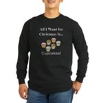 Christmas Cupcakes Long Sleeve Dark T-Shirt