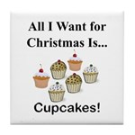 Christmas Cupcakes Tile Coaster